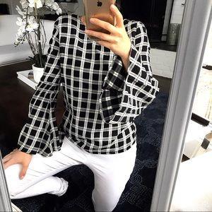 Black & White Checkered Blouse ▪️▫️